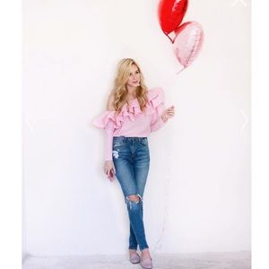Chic Wish: Off The Shouldered Pink Blouse